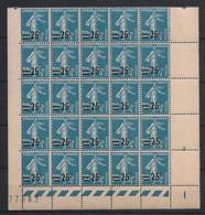 France - 1926-27 - N°Yv. 217 - Semeuse 25c Sur 30c Bleu - Bloc De 25 Bord De Feuille - Neuf Luxe ** / MNH / Postfrisch - Unused Stamps