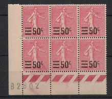 France - 1926-27 - N°Yv. 224 - Semeuse 50c Sur 65c Rose - Bloc De 6 Bord De Feuille - Neuf Luxe ** / MNH / Postfrisch - Unused Stamps