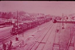 Photo Diapo Diapositive Slide Train Locomotive Vapeur Machine 2310 P.L.M En Gare à 45 Montargis En 1904 VOIR ZOOM - Diapositives (slides)