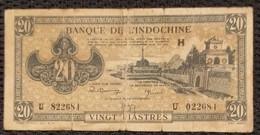 Indochine Indochina Vietnam Viet Nam Laos Cambodia 20 Piastres VF Banknote Note 1942-45 - P#71 / 2 Photo - Indochina