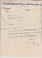MILITARI LETTERA ASSOCIAZIONE NAZIONALE VOLONTARI DELLA GUERRA 1915/1918 SOMALIA - Historical Documents
