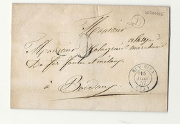 Gironde - St Vivien Pour Boredeaux. Boite Rurale B De LESPARRE. 1857 - 1849-1876: Classic Period