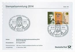 01655) BRD - ⨀-Karte Mi 2495 - SoST Vom 28.08.2014 In 39340 Haldensleben, Briefmarkenausstellung, Bertha Von Suttner - Marcofilia - EMA ( Maquina De Huellas A Franquear)