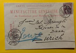 11334 - Carte Manufacture Genevoise De Confection Hommes Th.Olivier Genève 07.04.1892 Pour Zürich - Covers & Documents