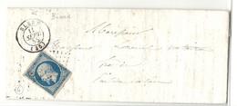 Indre Et Loire - Blere Pour Hesdin (Pas De Calais). BOITE RURALE à Sec De BIARD - 1849-1876: Classic Period