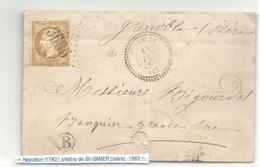 Isère - St ISMIERS (Isère) Pour Grenoble. CàD Perlé Type 22 + GC 3665. Lettre Locale. Indice 16 - 1801-1848: Precursors XIX