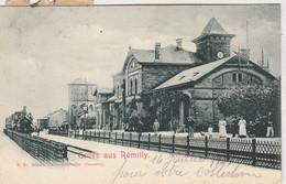 Gruss Aus Rémilly ,( Metz Campagne, Pange ), Intérieur Gare Avec Train ; Tampon Ovale Strassburg - Metz De 1901 - Metz Campagne