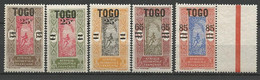 TOGO N° 119 à 123 NEUF** LUXE SANS  CHARNIERE  / MNH - Nuovi