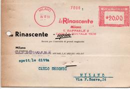 LA RINASCENTE - MLANO 1951 - Timbro Meccanico Rosso - Poststempel - Freistempel