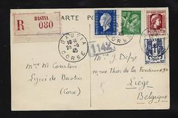 Marianne De DULAC   4 F ,chaine  50c ,marianne 1,20 , Iris  80 C Sur Carton  En Recom De BASTIA  1945 Pour La  Belgique - Unclassified