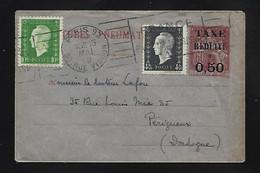 Marianne De DULAC 4 ,50  F Et  10 F  En Complement Sur Enveloppe Pneu Taxe Réduite Oblit  PARIS  1949 Pour Périgueux - Unclassified