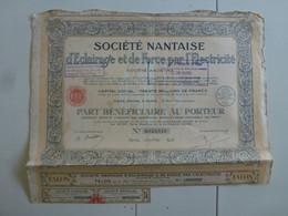 Action Société Nantaise D'Eclairage Et De Force Par L'Electricité - Elektrizität & Gas