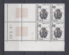 TAXE N° 111 - Bloc De 4 COIN DATE - NEUF SANS CHARNIERE - 4/5/82 - Portomarken