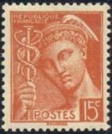 FRANCE 1938-41 Neuf**, Type Mercure 15c Brun-orange YT 409 - Ungebraucht