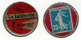 """TIMBRES-MONNAIE // LA LANTERNE """"ECLAIRE TOUT"""" //  25 Centimes Bleu Sur Fond Rouge // RARE - Other"""