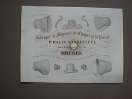 BRUGES - RUE FLAMANDE - P. HALIN VANDEPITTE - FABRIQUE DE CHAPEAUX DE PAILLE - CARTE PORCELAINE - 14 X 10.5 - Brugge