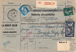 Bulletins Colis 5 Kg Avec Valeur Déclarée Strasbourg Koenigshoffen 12/10/1927 La Bougie Colin Affranchi Au Recto - Covers & Documents