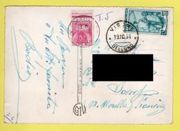 FRANCE SUR CP / TT 85 TYPE GERBES OBL. JOEUF 22 -10 1951 M&M + TP D'ITALIE LE TIMONIER OBL. VISOME 19.10.51 BELLUNO - 1859-1955 Cartas