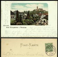 """Königstein Taunus 1900 !! Gruss Aus .. Litho """" Die Frankfurter Strasse """" Bedarf > Hanau - Koenigstein"""