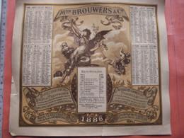 Kalender - Calendrier 1886 - Steendrukkerij BROUWERS Korte Klarenstraat, Litho -later RATINCKX - ENGEL  23,5cm X 25,5cm - 1800 – 1899
