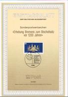1987 - Germany ETB 19/1987 - Religion - 1200. Jahrestag Der Erhebung Bremens Zur Bischofssitz [D09_166] - FDC: Bögen