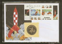 1999 - Netherlands ECU Letter No. 39 - Comic Characters - Kuifje And Bobbie, Haddock, TinTin (block) - Cartas