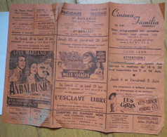 Programme Cinéma FAMILIA Chantilly Juin 1959 - Luis Mariano - L'homme Aux Mille Visages - Glenn Ford - Gene Kelly - 1950 - ...