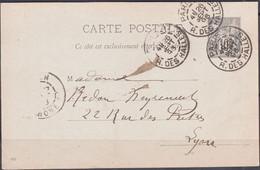 Entier SAGE 10c Sur CPA De   PARIS 17  Rue Des HALLES  Posté  Le 26 Sept 1896  Pour 69 LYON  Avec C.à. D. - Cartoline Postali E Su Commissione Privata TSC (ante 1995)