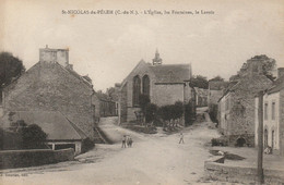 CPA-22-ST NICOLAS DU PELEM-L'église, Les Fontaines, Le Lavoir - Saint-Nicolas-du-Pélem
