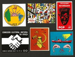 Lote 6 AUTOCOLANTES Propaganda Politica COMUNISTA Marinha Grande + Sacavem + Retornados.Set 6 Political Sticker PORTUGAL - Advertising