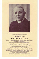 Abbé Victor Pauly, Né Landenne En 1889, Décédé Bruxelles En 1953. Procureur à Stanleyville Et Wamba, Combattant De 14-18 - Devotieprenten