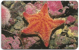 Isle Of Man - Chip - Red Cushion Starfish - 21U, 2001, 20.000ex, Used - Isla De Man