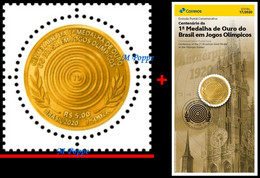 Ref. BR-V2020-17+E BRAZIL 2020 OLYMPIC, CENT. 1ST BRAZILIAN GOLD, MEDAL IN OLYMPIC GAMES, MNH + BROCHURE 1V - Neufs