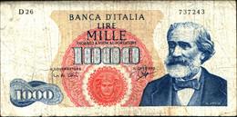 29676) ITALIA BANCONOTA LIRE 1000 GIUSEPPE VERDI 1^TIPO DM 25-7-1964 R2 - 1000 Liras