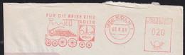 "GERMANY (1961) Train. Ore Loader. Red Meter Cancel On Envelope - ""Fur Die Reise Eine Adler - Orlloff/Koln."" - Lettere"