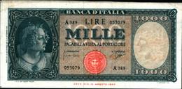 29677) 1000 LIRE ITALIA ORNATA DI PERLE DECR 25 SERTTEMBRE 1961-FDS - 1000 Liras