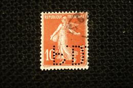 France Perfin Semeuse (amincie)  Perforé PD56 Dunlop - Perfins