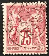 YT 71 (°) Obl 1876-78 SAGE (type I) 75 C Carmin (côte 10 Euros) – B2otti - 1876-1878 Sage (Type I)