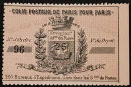 Colis Postaux De Paris Pour Paris Maury 6 (7 Euros), 25 Centimes Noir Sur Burelage Bistre Neuf Sans Gomme – Cplot - Usados