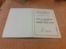 TESSERA DI RICONOSCIMENTO PER VIAGGI SULLE FERROVIE DELLO STATO 1960 - Europa