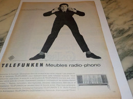 ANCIENNE PUBLICITE MEUBLE RADIO PHONO TELEFUNKEN   1962 - Altri