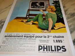 ANCIENNE PUBLICITE EQUIPE POUR LA 2 EM CHAINE PHILIPS 1962 - Televisione