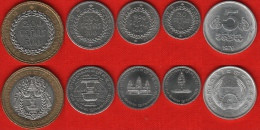 Cambodia Set Of 5 Coins: 5 Sen - 500 Riels 1979-1994 UNC - Cambodia