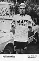 CARTE CYCLISME WILLY ABBELOOS SIGNEE TEAM MAES - PILS 1975 - Radsport