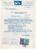 1957 YUGOSLAVIA,SLOVENIA,IZOLA,FISH,FISHERY,REQUEST TO INSTALL RADIO ON COMPANY'S LETTERHEAD,10 STATE REVENUE STAMPS - Briefe U. Dokumente
