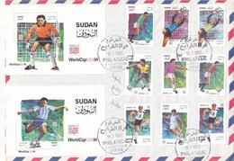 Fdc`s SUDAN 1995 SC 470 480 WORLD CUP USA 1994 Rare (thinning Fault On Back ) #201 - Soedan (1954-...)