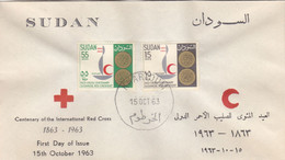 Fdc`s SUDAN 1963 SC 162 163 International Red Cross  #37 - Soedan (1954-...)