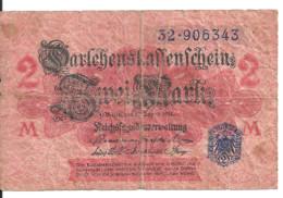 ALLEMAGNE 2 MARK 1914 VG+ P 53 - Zonder Classificatie