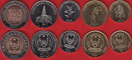 Rwanda Set Of 5 Coins: 5 - 100 Francs 2007-2011 UNC - Rwanda