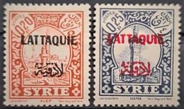 LATTAQUIE 1933 - Canceled - YT 21, 22 - 0,20p 0,25p - Oblitérés